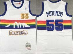 Mens Nba Denver Nuggets #55 Dikembe Mutombo White Snow Mountain Mitchell&ness Hardwood Classics Swingman Jersey