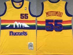 Mens Nba Denver Nuggets #55 Dikembe Mutombo Yellow Snow Mountain Mitchell&ness Hardwood Classics Swingman Jersey
