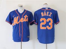 Mens Mlb New York Mets #23 Javier Báez Blue Cool Base Nike Jersey