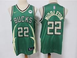Mens Nba Milwaukee Bucks #22 Khris Middleton Green 2021 Earned Edition New Patch Swingman Nike Jersey