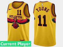Mens 2021-22 Nba Atlanta Hawks Current Player Yellow Nike Swingman Jersey
