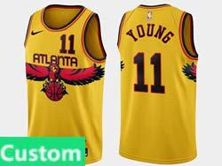 Mens 2021-22 Nba Atlanta Hawks Custom Made Yellow Nike Swingman Jersey