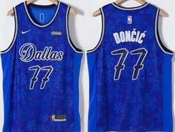Mens Nba Dallas Mavericks #77 Luka Doncic Blue Fashion Swingman Nike Jersey