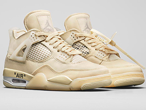 Mens And Women Nike Off-white X Air Jordan 4 Sail Basketball Shoes One Color
