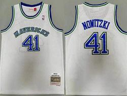 Mens Nba Dallas Mavericks #41 Dirk Nowitzki White Mitchell&ness 1998-99 Hardwood Classics Swingman Jersey