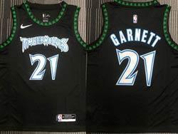 Mens Nba Minnesota Timberwolves #21 Kevin Garnett Black Mitchell&ness Hardwood Classics Nike Jersey