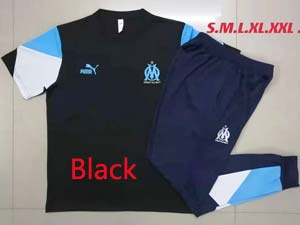Mens 21-22 Soccer Olympique De Marseille Club Short Sleeve And Shorts Training Suit 2 Color