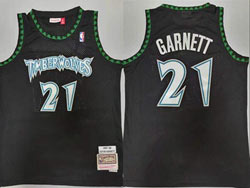 Mens Nba Minnesota Timberwolves #21 Kevin Garnett Black 97-98 Mitchell&ness Hardwood Classics Jersey