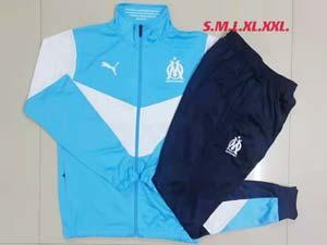 Mens 21-22 Soccer Olympique De Marseille Club Long Zipper And Sweat Pants Training Suit
