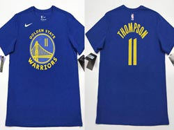Mens Nba Golden State Warriors #11 Klay Thompson T Shirt Jerseys Blue Color