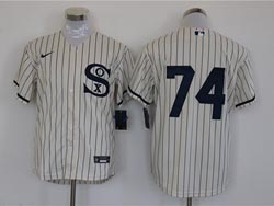 Mens Mlb Chicago White Sox #74 Eloy Jimenez Cream 2021 Field Of Dreams Cool Base Nike Jersey No Name