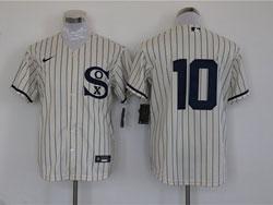 Mens Mlb Chicago White Sox #10 Yoan Moncada Cream 2021 Field Of Dreams Cool Base Nike Jersey No Name