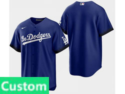 Mens Women Youth Mlb Los Angeles Dodgers Custom Made Blue 2021 City Connect Cool Base Nike Jersey