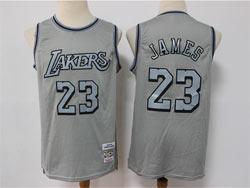 Mens Nba Los Angeles Lakers #23 Lebron James Gray Mitchell&ness Hardwood Classics Limited Jersey