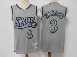 Mens Nba Philadelphia 76ers #3 Allen Iverson Gray Mitchell&ness Hardwood Classics Limited Jersey