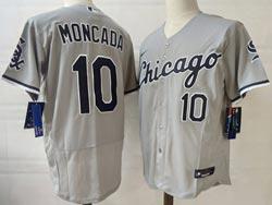 Mens Mlb Chicago White Sox #10 Yoan Moncada Gray Nike Flex Base Jersey