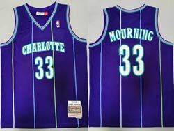Mens Charlotte Hornets #33 Alonzo Mourning Purple 1994-95 Mitchell&ness Hardwood Classics Swingman Jersey