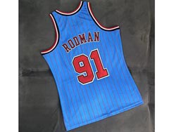 Mens Nba Chicago Bulls #91 Dennis Rodman Blue 95-96 Mitchell&ness Hardwood Classics Mesh Jersey