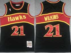 Mens Nba Atlanta Hawks #21 Dominique Wilkins Black Mitchell&ness Hardwood Classics Swingman Mesh Jersey
