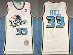 Mens Nba Detroit Pistons #33 Grant Hill White Mitchell&ness Hardwood Classics Swingman Mesh Jersey