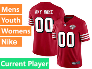 Mens Women Youth Nfl San Francisco 49ers Red Current Player Nike 75th Anniversary Vapor Untouchable Limited Jersey