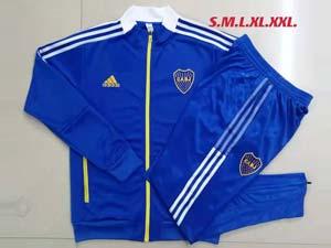 Mens 21-22 Soccer Atletico Boca Juniors Long Zipper And Blue Sweat Pants Training Suit