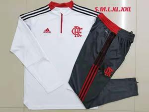 Mens 21-22 Soccer Flamengo Club Rj White Half Zipper And Dark Grey Sweat Pants Training Suit B504#