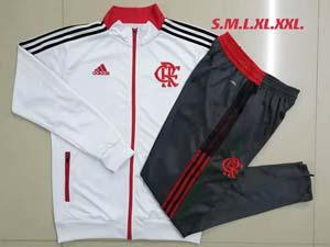 Mens 21-22 Soccer Flamengo Club Rj White Long Zipper And Dark Grey Sweat Pants Training Suit A469#