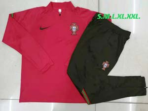 Mens 21-22 Soccer Portugal National Team Red Training And Black Sweat Pants Training Suit B505#