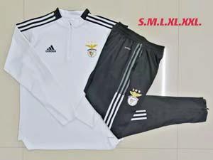 Mens 21-22 Soccer S.l. Benfica Club White Half Zipper And Black Sweat Pants Training Suit B510#