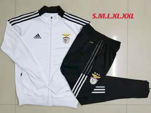 Mens 21-22 Soccer S.l. Benfica Club White Long Zipper And Black Sweat Pants Training Suit A473#