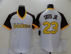 Mens Mlb San Diego Padres #23 Fernando Tatis Jr. White Cool Base Gold Nike Pullover Jersey