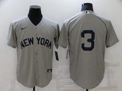 Mens Mlb New York Yankees #3 Babe Ruth Gray Cool Base Nike Jersey No Name