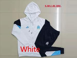 Mens 21-22 Soccer Olympique De Marseille Club Hoodies And Sweat Pants Training Suit 2colors