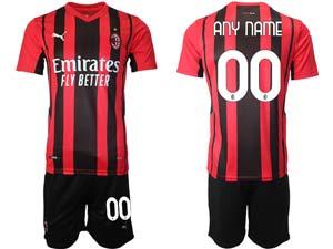 Mens Kids 21-22 Soccer Ac Milan Club Custom Made Red Black Stripe Home Short Sleeve Suit Jersey
