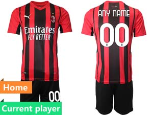 Mens Kids 21-22 Soccer Ac Milan Club Current Player Red Black Stripe Home Short Sleeve Suit Jersey