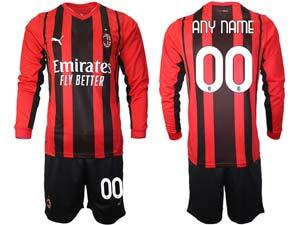 Mens 21-22 Soccer Ac Milan Club Custom Made Red Black Stripe Home Long Sleeve Suit Jersey