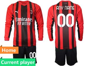 Mens 21-22 Soccer Ac Milan Club Current Player Red Black Stripe Home Long Sleeve Suit Jersey