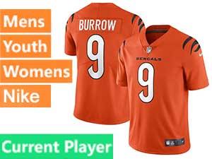 Mens Nfl Cincinnati Bengals Current Player 2021 Orange Alternate Vapor Untouchable Limited Nike Jersey