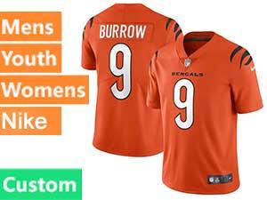Mens Nfl Cincinnati Bengals Custom Made  2021 Orange Alternate Vapor Untouchable Limited Nike Jersey