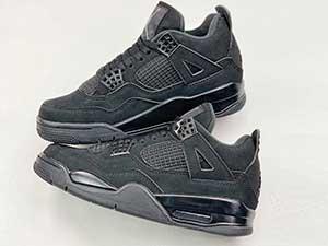 Mens Air Jordan 4 Retro Black Cat Basketball Shoes Black Gray