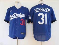 Mens Mlb Los Angeles Dodgers #31 Max Scherzer Blue 2021 City Connect Flex Base Nike Jersey