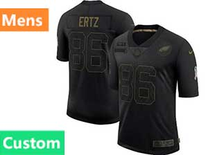 Mens Nfl Philadelphia Eagles Custom Made Black Nike 2020 Salute To Service Limited Jersey