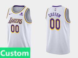 Mens Nba Los Angeles Lakers Custom Made White (purple Number)2021-22 Season Swingman Nike Jersey