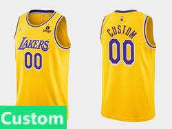 Mens Nba Los Angeles Lakers Custom Made Yellow 2021-22 Season Swingman Nike Jersey