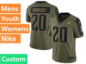 Mens Women Youth Nfl Philadelphia Eagles Custom Made Green Olive 2021 Salute To Service Nike Limited Jersey