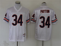 Mens Nfl Chicago Bears #34 Walter Payton White Mitchell&ness Throwback Jersey