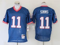 Mens Nfl New York Giants #11 Phil Simms Blue Mitchell&ness Throwback Jersey