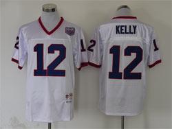 Mens Nfl Buffalo Bills #12 Jim Kelly White Mitchell&ness Throwbacks Jersey