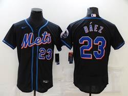 Mens Mlb New York Mets #23 Javier Báez Black Flex Base Nike Jersey